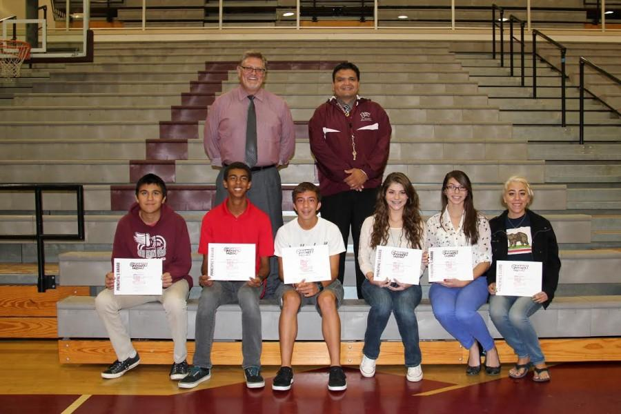 Mr.+McCall+and+Mr.+Navarro+with+some+of+the+150+students+who+received+academic+awards+on+October+15.