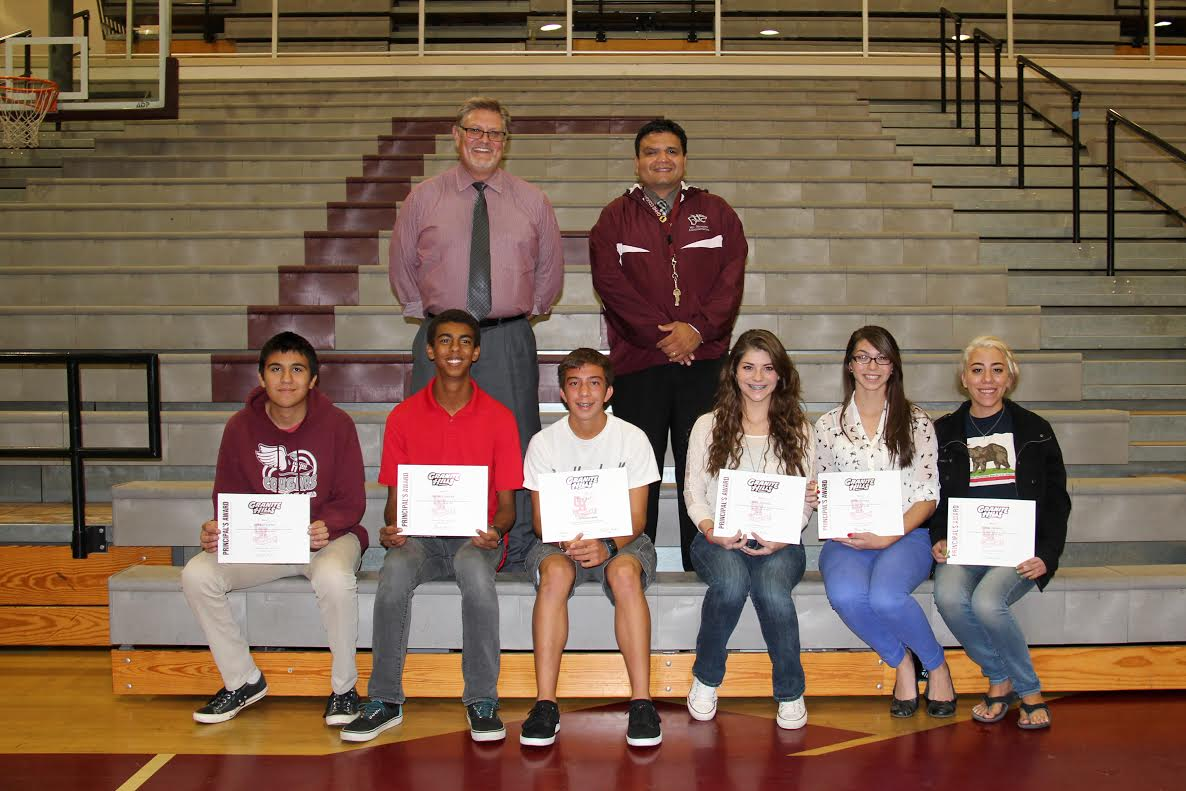 Mr. McCall and Mr. Navarro with some of the 150 students who received academic awards on October 15.
